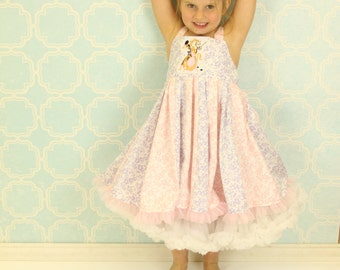 custom boutique dress made with tangled patch  size 2-4