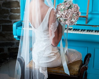 Wedding veil ISABELLE - Silk Mantilla Veil with pure silk lace and beaded lace applique', Bridal Veil, Chapel Veil