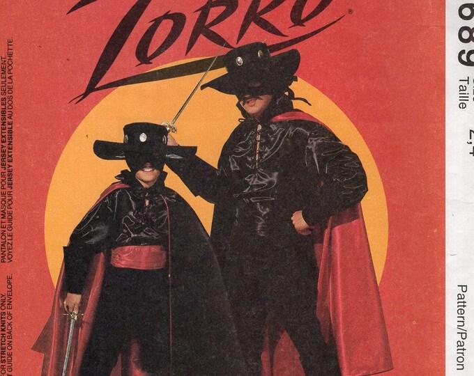 FREE US SHIP Sewing Pattern McCall's 6689 Boys Costume Zorro Hat Cape Boots Shirt Mask Size Kids 2/4 7/8 Adult 36 38 Uncut Halloween Costume
