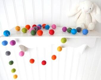 Felt Ball Garland, Nursery Decor, Rainbow Garland, Felt Garland, Pom Pom Garland, Birthday Garland, Cake Smash, Baby Shower, Birthday Party