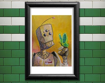 Zen - Robot and Butterfly Poster Print