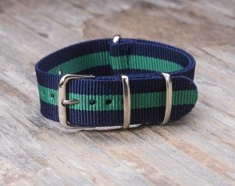 22mm NATO Style Nylon Watch Band Watch Strap Fits Timex Weekender, Seiko SKX Steinhart, Fossil - Navy Green Stripes