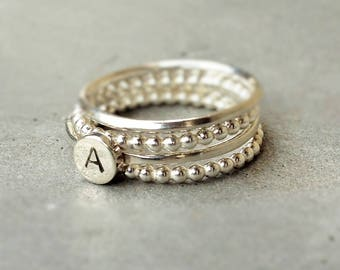 Stackable silver rings, 4 rings stackable to be personalized with a monogram