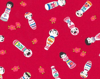 Kokeshi Japanese Dolls - Red Asian Japanese Fabric - By the Half Yard