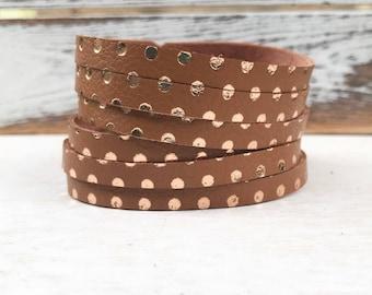 Leather Bangle Bracelet - Terra-cotta/Rose gold polka dots