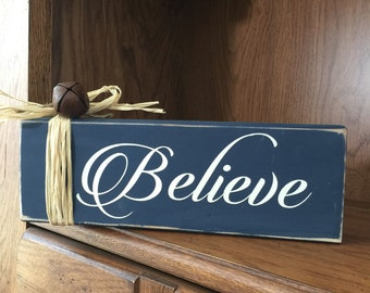 Believe Wood Block  - Believe - Wood Christmas Block - Christmas Decor - Holiday Decor - Hostess Gift - Gift for Teacher - Friend Gift