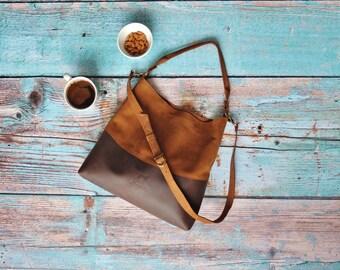 Genuine leather hobo bag with regulated handle - leather shoulder bag - Every day bag - spring bag - Natural leather bag - gift for women