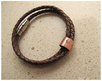 Leather Bracelet with handmade personalised charms- Father's Day gift / best man gift / Mother's day gift /