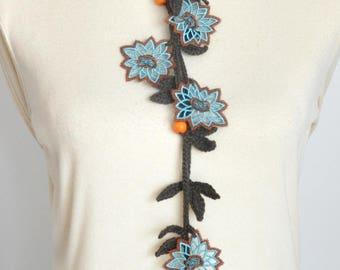 Blue Lace - Blue Lace Flower Crochet Leaf Lariat