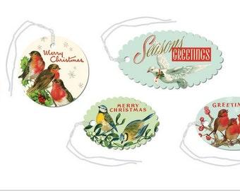 SALE Christmas Vintage Birds glittered gift tags Cavallini set number 1