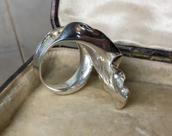 Sterling Silver Vintage Sculptural Statement Ring, Modernist, Brutalist, 925