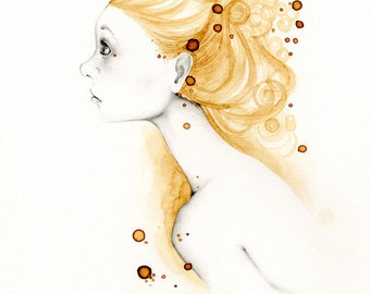Original Girl Drawing Girl Painting Gold Abstract Wall Art OOAK Painting Drawing Illustration Gift for Her Fashion Wall Art Salon Decor Art