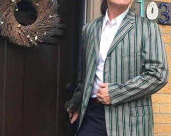Vintage Men's Striped Gray Green Black Sport Jacket Coat, Cotton, Made in USA