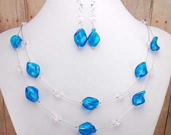 Necklace & Earring Set - Silver Lined Capri Blue 2-Strand - Bright Blue - Dark Aqua - Twisted