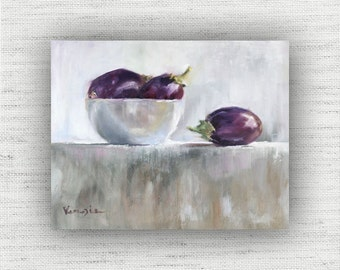 Eggplant Painting Print of Still Life Oil Painting Home Decor Wall Art, Unique Kitchen Food Room Decor, Farmhouse Dining Room Art Print