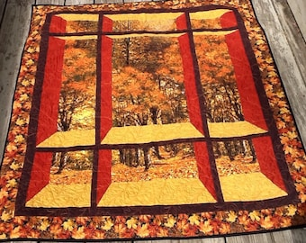 Fall Window Wall Hanging 42.5 x 47.5  Professionally Quilted