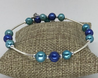 Teal and blue pearl wrist wrap