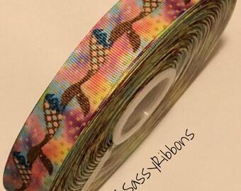 "7/8"" Ombre mermaid gold tail grosgrain ribbon"
