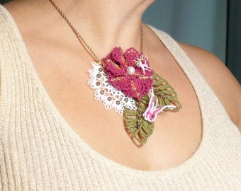 Tatting jewelry lace  Necklace -The Pink Dianthus Gala with Swarovski pearls -J Kohr Couture Statement necklace floral formal wear organic