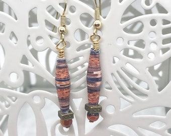 Brown Paper Bead Earrings