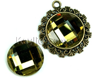 Mirror Glass Cabochon cab 20mm Round Checker Cut Faceted Dome -Olivine - 2pcs