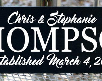 Personalized  Custom family name wood sign with first names and established date