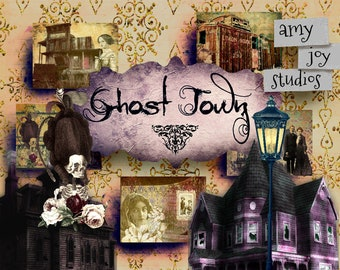 NEW  Ghost Town  Digital Journal Kit  Haunted House  Digital Paper Pack  Vintage Halloween  Mixed Media Paper  Junk Journal Kit  Clipart