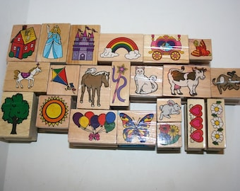 Lot of 21 Assorted Various Rubber Stamps Used