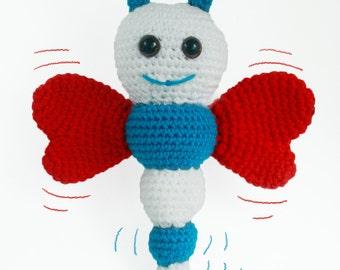 Handmade Amigurumi Butterfly Soft Toy - Crochet Kids Plush - Blue, Red and Beige