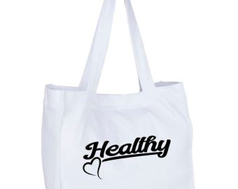 "Beach bag - gym bag ""Healthy"" for the passionate sports and fitness, nutrition and detox"