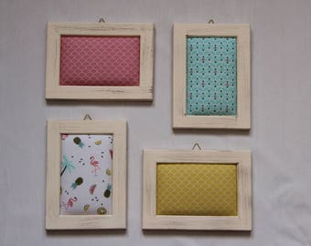 Set of 4 wooden frames with Flamingo, pineapple, Palm print fabric.