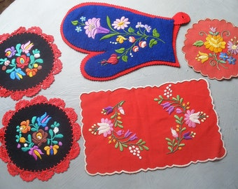 5 vintage Matyo embroidered coasters etc