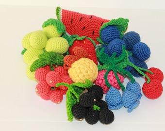 Set Crochet Berries 10 PCs Crochet Vegetables Toy Amigurumi Sensory Play Food Kitchen Decoration Eco-friendly Toys Birthday Gift Mothers Day