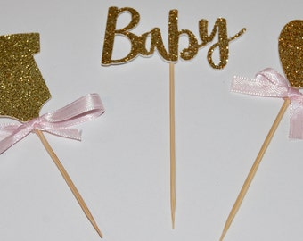 12 Gold Baby Shower cupcake toppers.