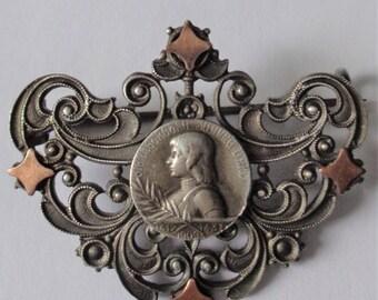 Antique Brooch St. Joan Of Arc