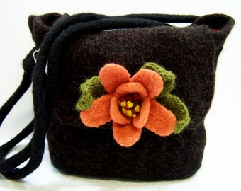 Fabric Lined Knit Felted Wool Purse, Brown Black Felted Wool Shoulder Bag, Large Felted Brown Purse,  Large Boiled Wool Purse, Felted Flower