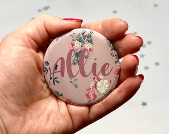 Personalized Compact, Rose Gold Compact Mirror, Bridesmaid Gift, Custom Bridesmaid Gift, Boho Mirror, Personalised Mirror, Bridesmaid Mirror