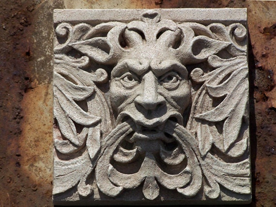 Green man satyr architectural detail cast stone relief