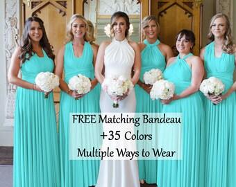 Tiffany Blue Bridesmaid Dress, infinity dress, Multiway Dress, Convertible dress,