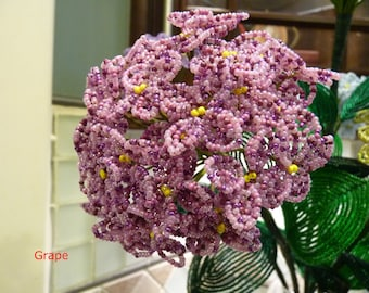 One Stem of Large Hydrangeas -- French Beaded Flower (Free Shipping, you pick the color)