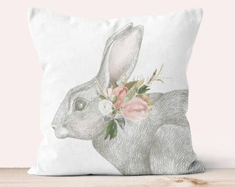 Pillow Cover Easter Decor Pastel Floral Bunny