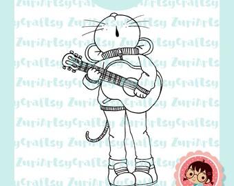 Digital Stamp, Pablo, Mouse, Music, Serenata, Scrapbooking Digital Stamp, Instant Download, Zuri Artsy Craftsy