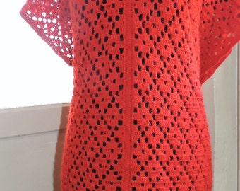 Sweater dress long red tunic with belt or scarf openwork pure alpaca wool