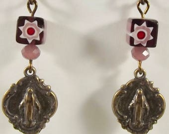 Catholic Earrings with Miraculous Medal Glass Jewelry