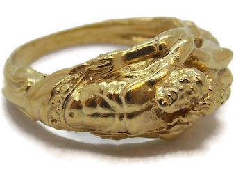 14k Solid Yellow Gold Zeus y Athena (God y Goddess) Ring!!