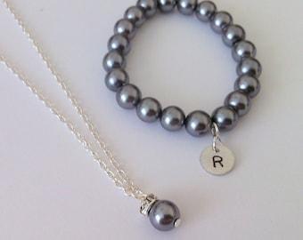 Flowergirl initial bracelet and elegant necklace gift set -  weddings, flowergirl jewelry