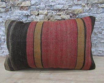 12x20 Decorative Kilim Pillow Cover Bohemian Pillow Multi Color Vintage Kilim Lumbar Navajo Pillow Handwoven Decorative Pillows