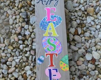 Hand Painted, Fan Blade, Door Hanger, with Easter Eggs,Happy Easter Deco