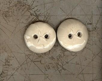 Handmade off white glazed ceramic sand dollar buttons Artisan ceramic seashell buttons ceramic Large button ecru button tan fall buttons