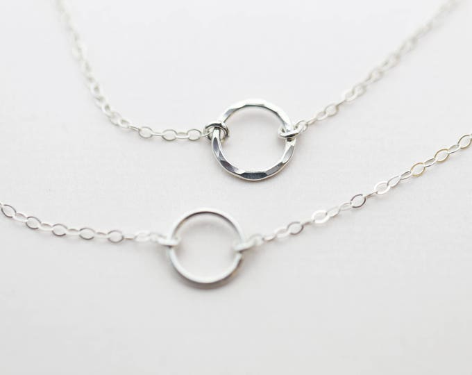 Halo Circle necklace, Round Halo Ring necklace, simple everyday necklace, 14K Gold Filled and Sterling Silver Friendship necklace